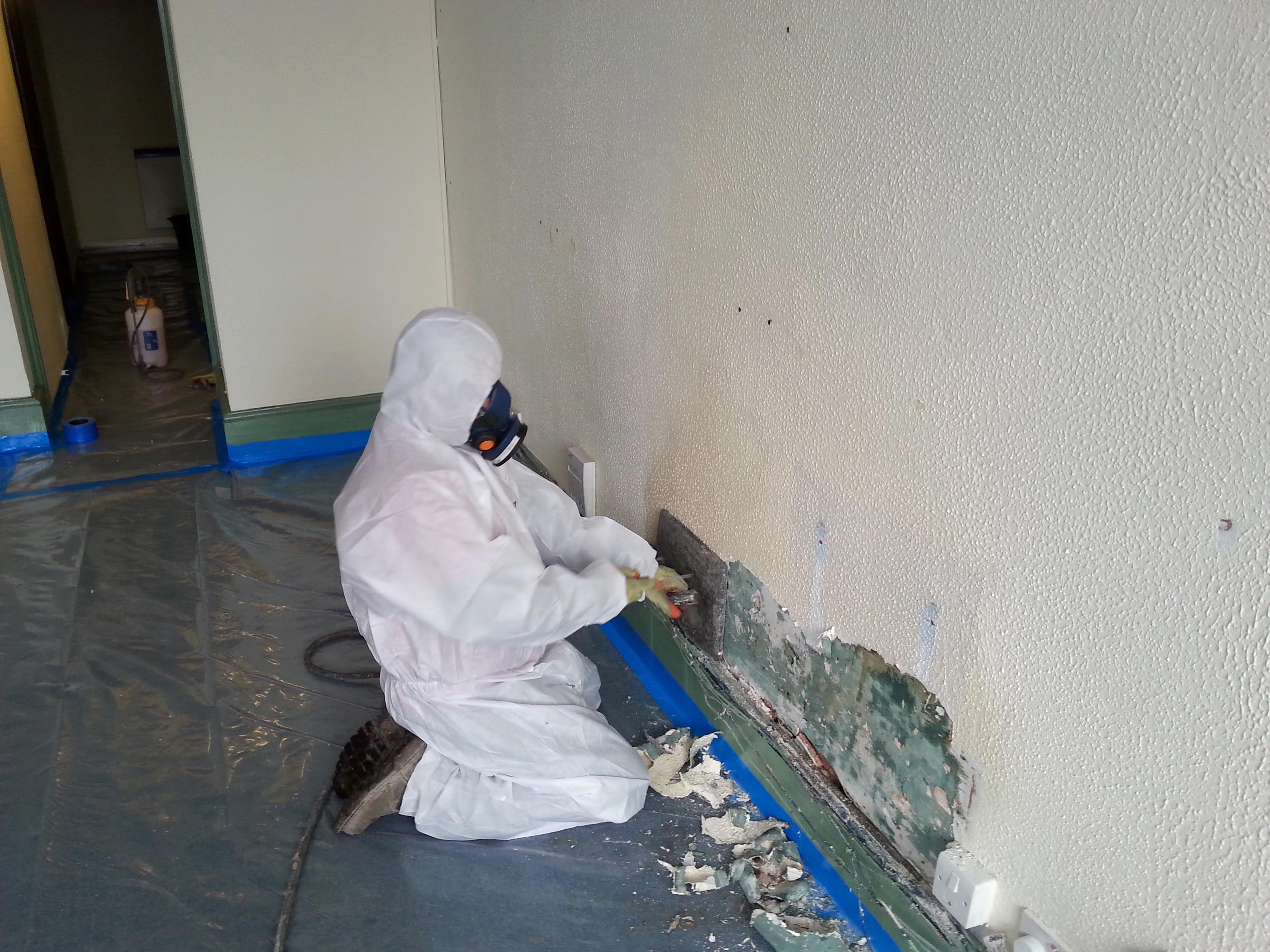 Asbestos containing textured coating removal in Wellington Somerset